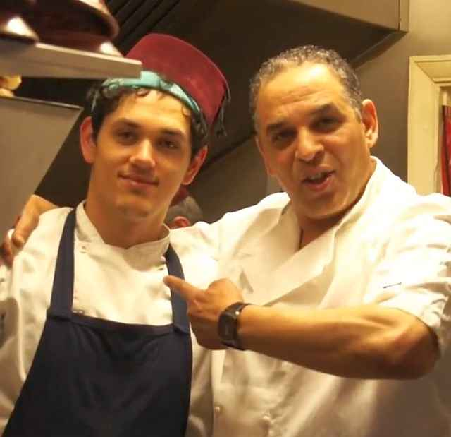 My son and I in the kitchen at Marrakech Avenue